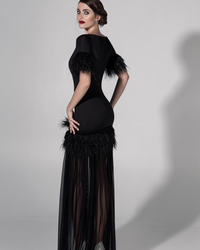 Rochie neagra eleganta cu pene