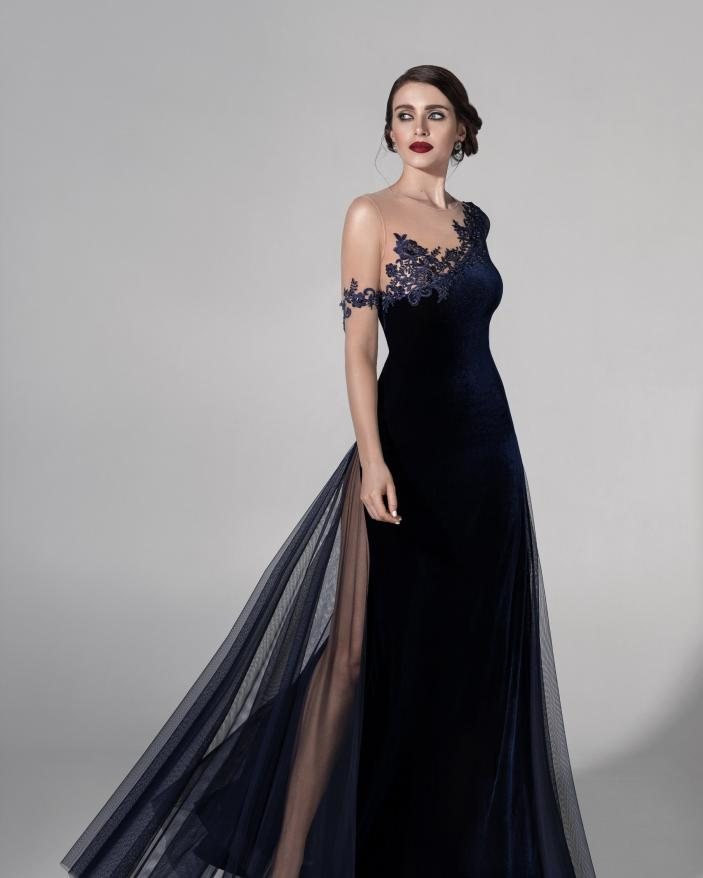 Rochie deosebita evenimente blue velvet