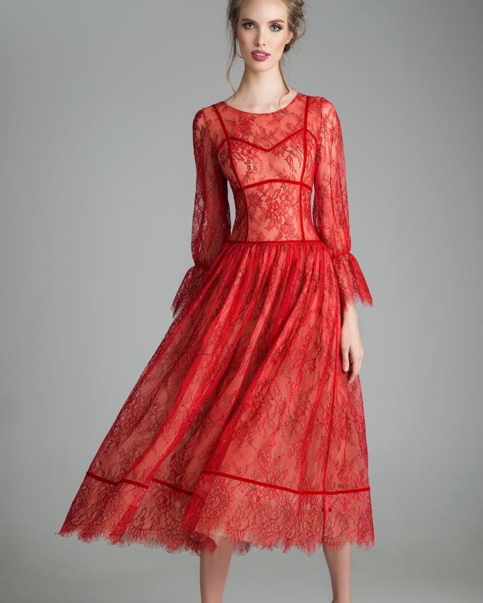 Rochie eleganta rosie chantilly nasturtium