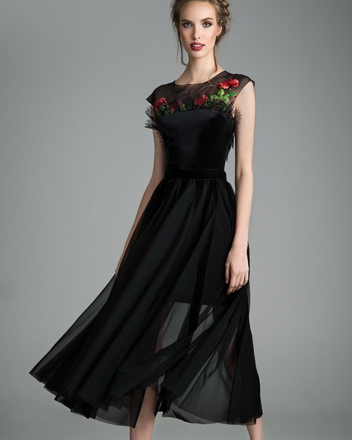 Rochie neagra catifea Night Rose