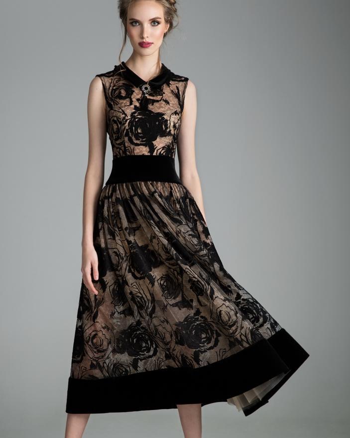 Rochie neagra catifea velvet rose